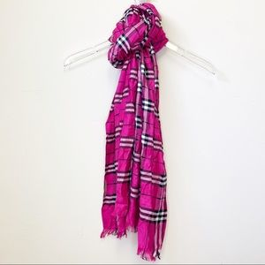 Burberry Nova Check Plaid Scarf Wrap pink black